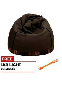 VIVA HOUZ - PYRAMID Bean Bag/Sofa (XL Size) - Walnut Brown with Orange USB Light