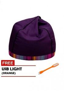 VIVA HOUZ - PYRAMID Bean Bag/Sofa (XL Size) - Fancy Purple with Orange USB Light