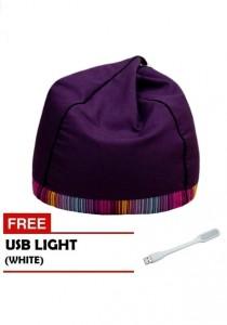 VIVA HOUZ - PYRAMID Bean Bag/Sofa (XL Size) - Fancy Purple with White USB Light