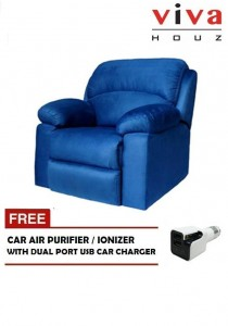 Viva Houz Wow Single Seat Recliner Chair / Sofa - Navy Blue (Free Car Purifier with Dual Port USB Charger)