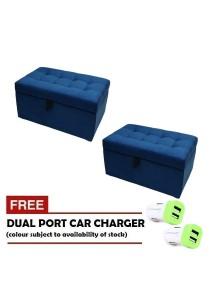 VIVA HOUZ - WOW Storage Ottoman / Bench (Set of 2) *Free Dual Port Car Charger