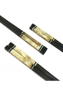 2 pairs Oriental Tree Mother of Pearl Inlay Chopsticks