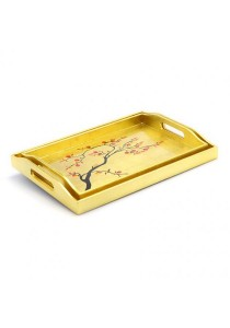 Lacquered Rectangular Serving Tray with Lime Tree (Set of 2) Gold