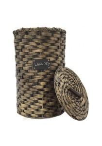 Weave & Woven Round Laundry Hamper (Black)