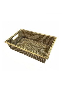 Weave & Woven Rectangular Tray Basket (Brown Wash)