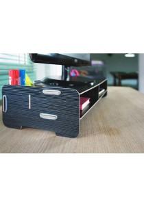 YUI Easy DIY Wooden Eco Friendly Monitor Riser Storage Organizer (Black)