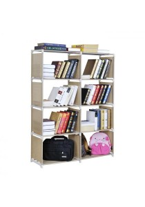 SJ1344 Multipurpose 4 Tiers 2 Columns Easy DIY Bookshelf Book Case (Brown)