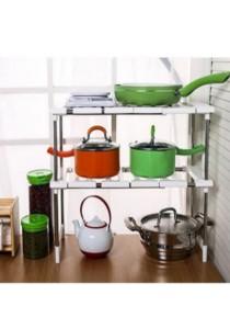 Expandable Stainless Steel Under Sink Rack Shelf Kitchen Organizer