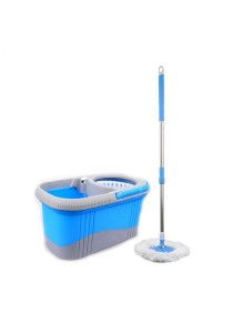 Daisu Magic Spin Mop Twin Color + Free Extra Mop Head (Blue)