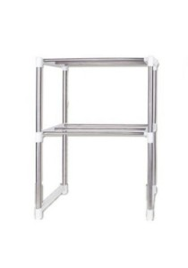 Extendable Multi-Functional 2-Tier Stainless Steel Storage Rack