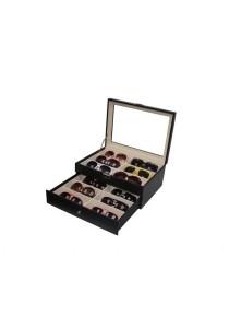 12 Slots PU Leather Sunglasses / Spectacular Storage Box (Carbon Fiber Black)