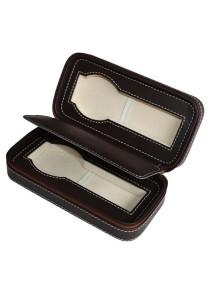2 Slots Zippered Dark Brown PU Leather Watch Travel Organizer Case