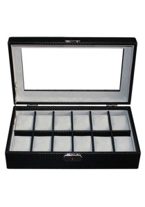 12 Slots Carbon Fiber Watch Display Box with Key Lock