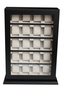 20 Slots Luxury Wooden Watch Display Stands with Key Lock (Black)