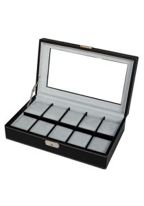 10 Slots PU Leather Watch Display Box with Key Lock (Black)