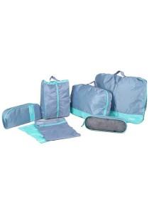 7pcs Set Premium Multipurpose Travel Organizer Nylon Cosmetic Storage (Blue)