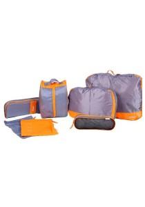 7pcs Set Premium Multipurpose Travel Organizer Nylon Cosmetic Storage (Orange)