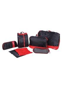 7pcs Set Premium Multipurpose Travel Organizer Nylon Cosmetic Storage (Red)