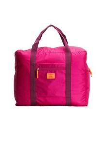 Korean M Square Foldable Nylon Water-Resistant Travel Luggage Bag (Hot Pink)