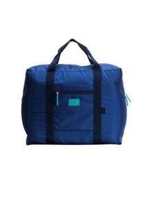 Korean M Square Foldable Nylon Water-Resistant Travel Luggage Bag (Navy Blue)
