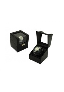 Luxury High Gloss Wooden Watch Winder 1 Slot with 4 Programs Settings (Black)
