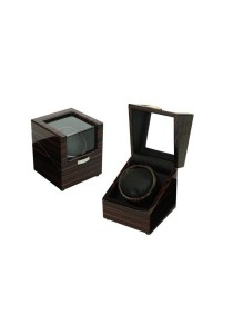 Luxury High Gloss Wooden Watch Winder 1 Slot with 4 Programs Settings (Ebony)