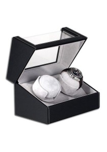 PU Leather Watch Winder 2 Slots Display Case