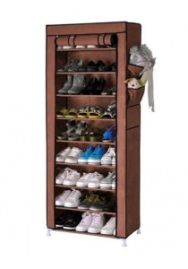 Stackable Shoe Cabinet 10-Tier 9-Column Shoe Rack with Dust Cover (Brown)