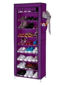 Stackable Shoe Cabinet 10-Tier 9-Column Shoe Rack with Dust Cover (Purple)