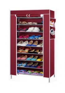 Stackable Shoe Cabinet 10-Tier 9-Column Shoe Rack with Dust Cover (Red)