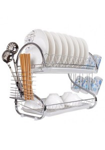 Multi-functional Stainless Steel 2-Tier Chrome Dish Drainer