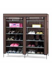 6-Tier with 2-Column Shoe Rack (Brown)