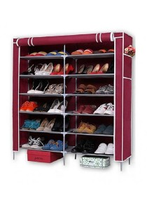 6-Tier with 2-Column Shoe Rack (Red)
