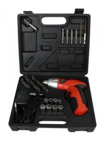 Cordless Electric Screwdriver Drill Tools Set Home Walls Wood - 45 Pcs (Red)