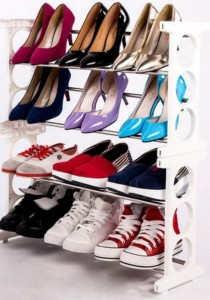 4-Tier Stainless Steel Shoe Rack Shoe Storage (White)