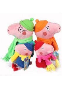 4-In-1 Peppa Pig Family Set Plush Toy - Winter Design