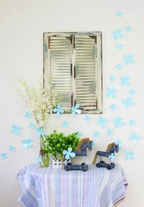 Walplus 36pcs 3D Turquoise Blossom Wall Stickers