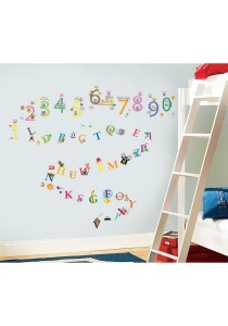 Walplus Colorful Owl 123 and A-Z Zoo Alphabet Combo Wall Stickers