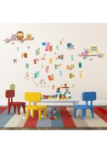 Walplus Combo Colorful Owl and A-Z Kids Learning Alphabet Wall Stickers