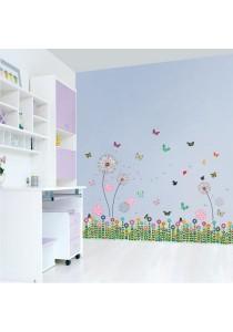 Walplus Combo Small Dandelion & Colorful Butterflies & Grass Wall Stickers.