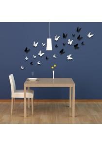Walplus 24pcs 3D Black & White Butterflies Wall Stickers