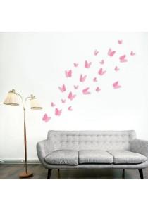 Walplus 24pcs 3D Pink Butterflies Wall Stickers