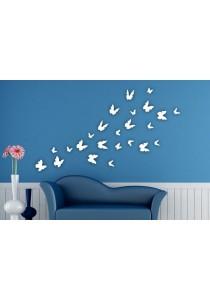 Walplus 24pcs 3D White Butterflies Wall Stickers