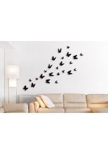 Walplus 24pcs 3D Black Butterflies Wall Stickers
