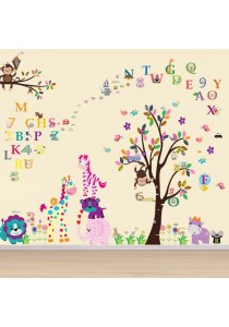 Walplus Combo Colorful Animals with A-Z Zoo Alphabelt & Colorful Owl 123 Wall Sticker