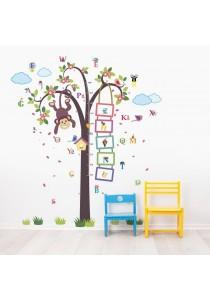 Walplus Combo Monkey Tree Growth Chart with A-Z Animals Alphabet Wall Stickers