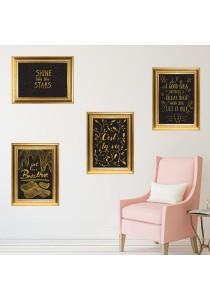 Walplus Combo Gold Frame - Shine Quote, Great Idea Quote, Breathe Quote & C'est La Vie Wall Stickers