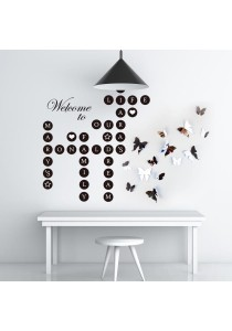 Combo Walplus Welcome Home Letters Puzzles & 3D Mirror Butterflies Wall Stickers