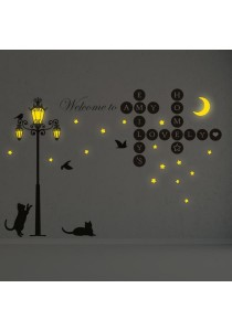Combo Walplus Welcome Home Letters Puzzles & Cat Street Light Glow In The Dark Wall Stickers