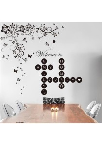 Combo Walplus Welcome Home Letters Puzzles & Black Butterflies Vine Wall Stickers